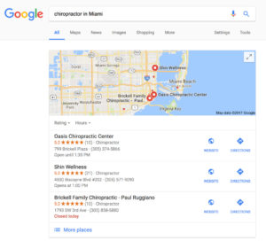 Online Reputation Management Local SEO Example - Chiropractors